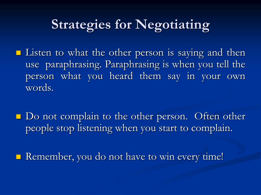 Strategies for Negotiating