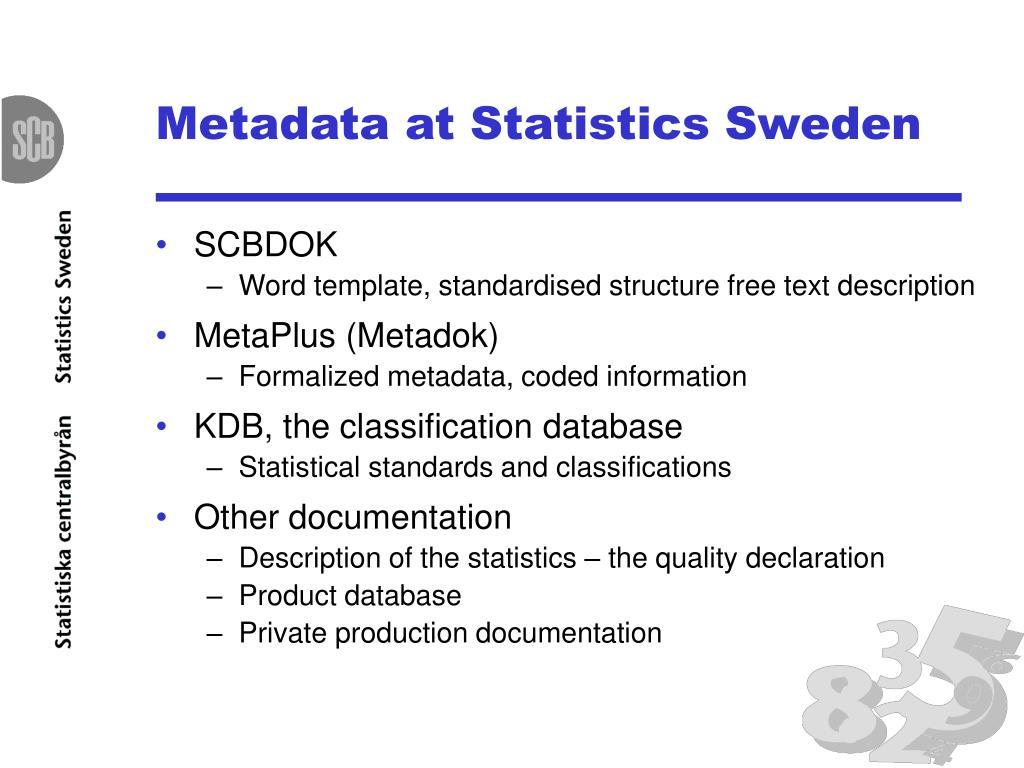 Metadata at Statistics Sweden