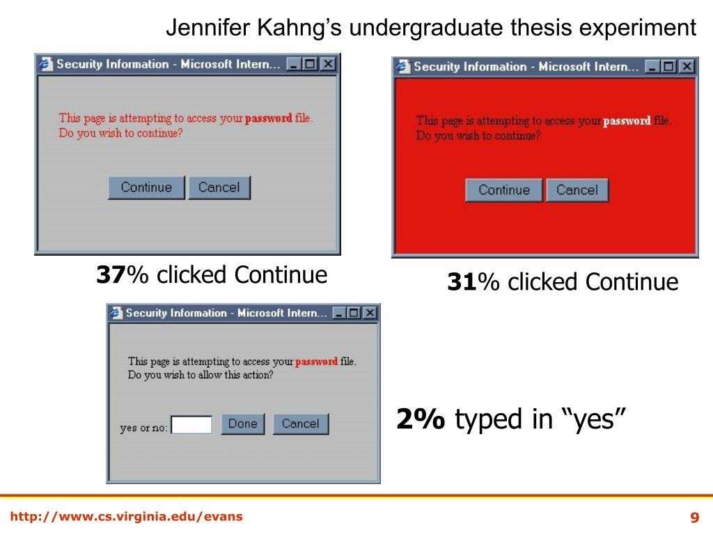 Jennifer Kahng's undergraduate thesis experiment