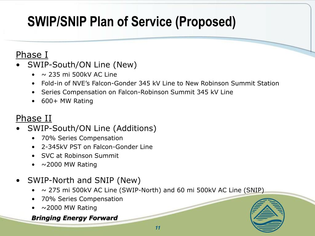 SWIP/SNIP Plan of Service (Proposed)