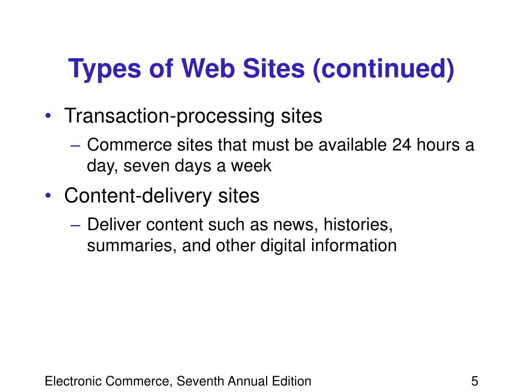 Types of Web Sites (continued)