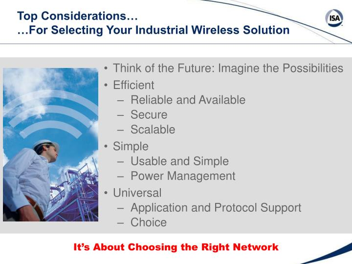Top considerations for selecting your industrial wireless solution