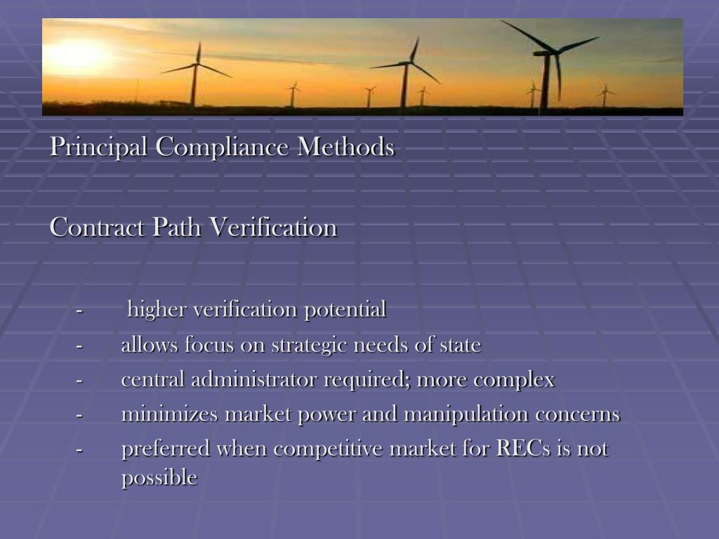Principal Compliance Methods