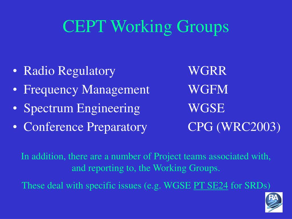 CEPT Working Groups