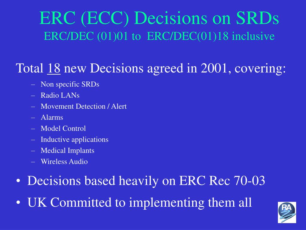 ERC (ECC) Decisions on SRDs