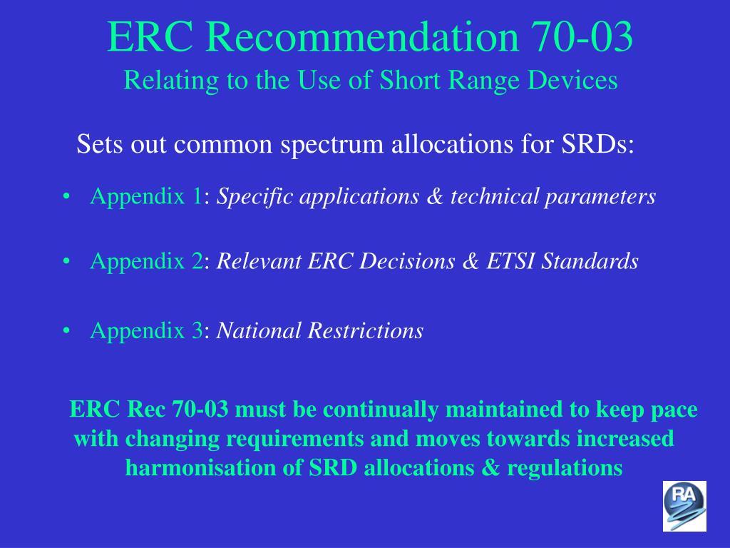 ERC Recommendation 70-03