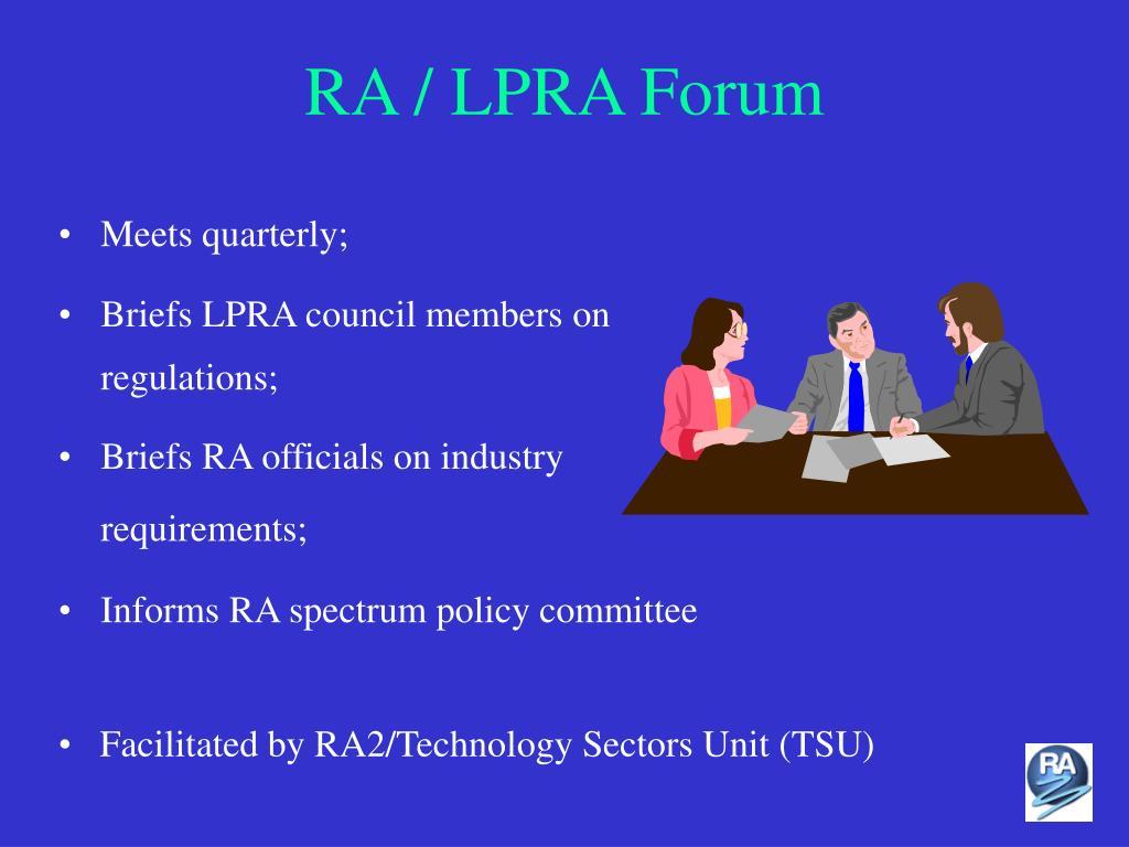 RA / LPRA Forum