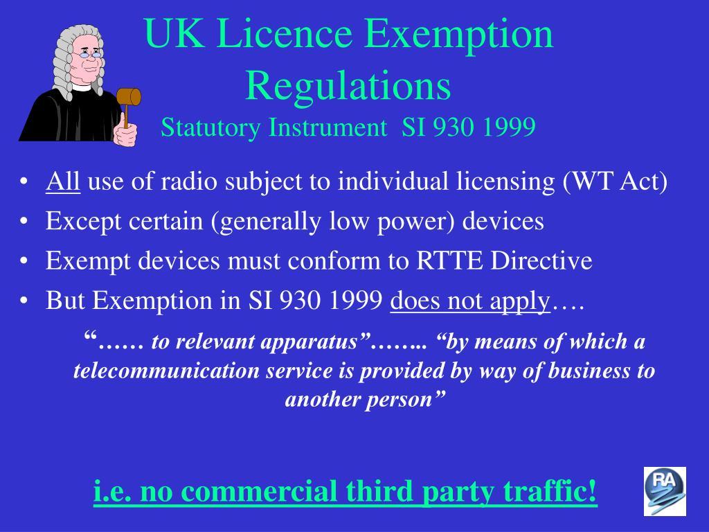 UK Licence Exemption Regulations