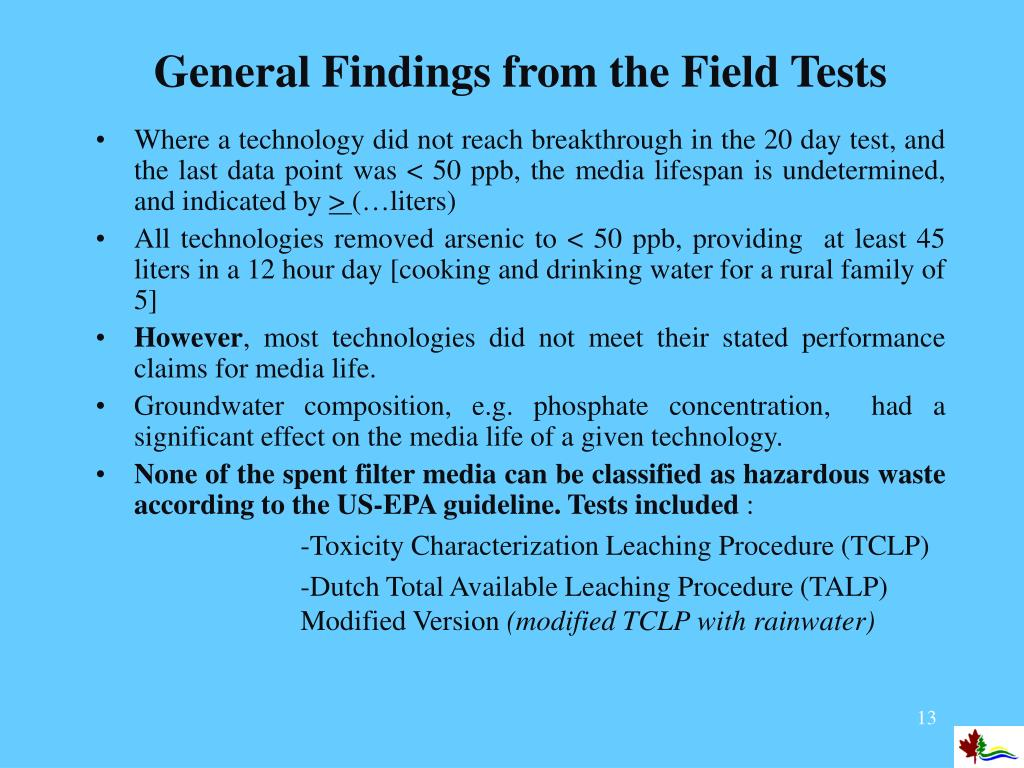 General Findings from the Field Tests
