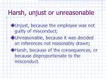 harsh unjust or unreasonable