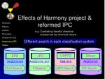 effects of h armony project reformed ipc