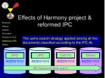 effects of h armony project reformed ipc19