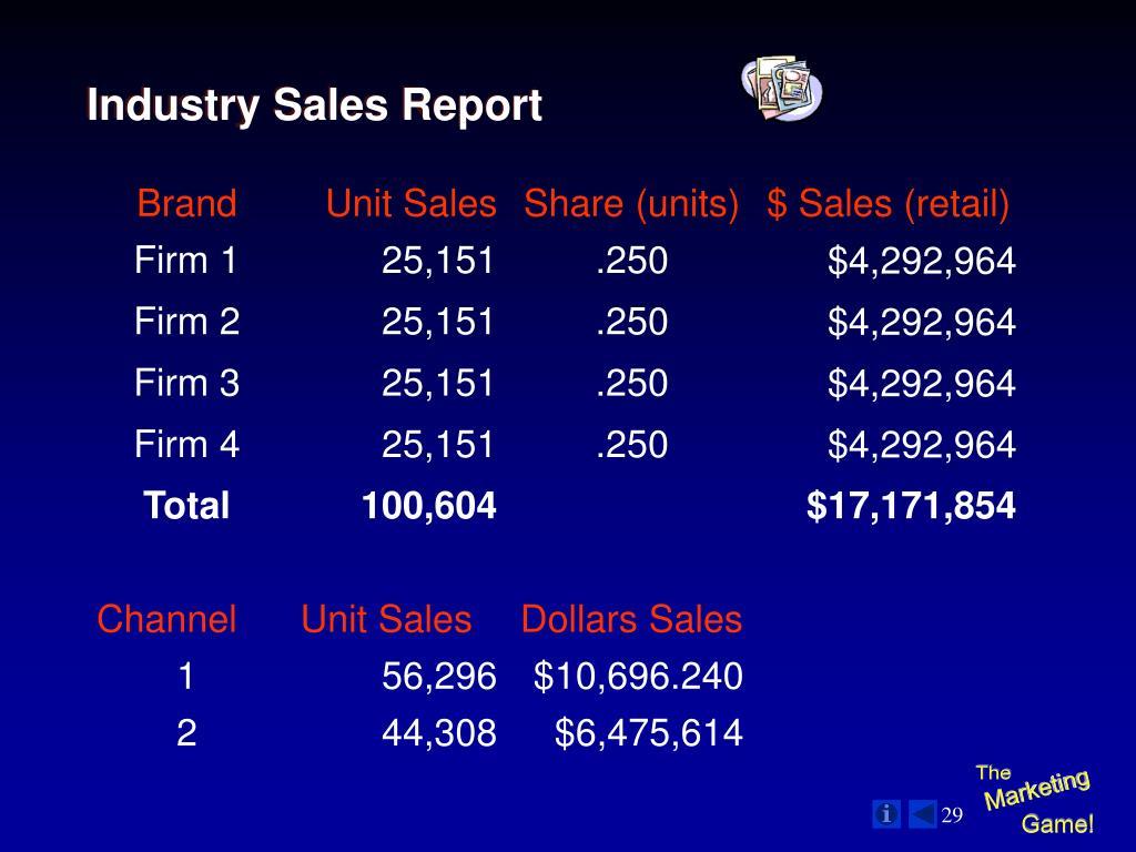Industry Sales Report