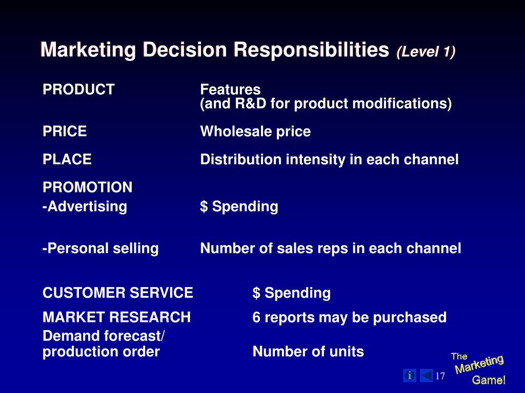 Marketing Decision Responsibilities