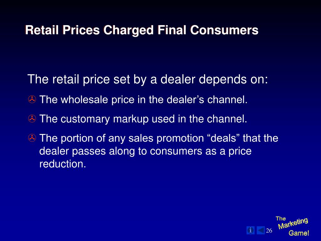 Retail Prices Charged Final Consumers