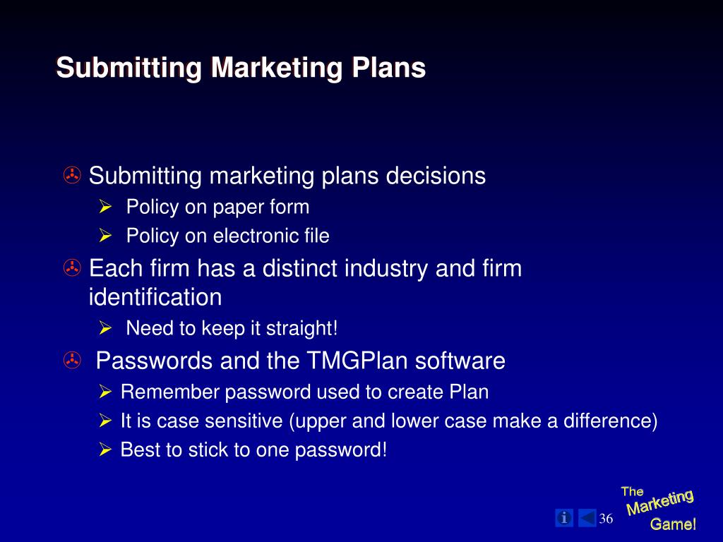 Submitting Marketing Plans