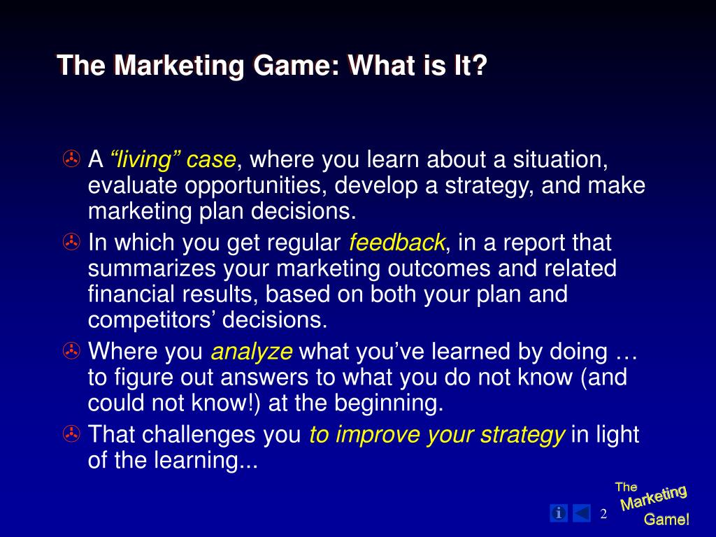 The Marketing Game: What is It?