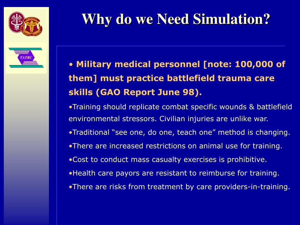 Why do we Need Simulation?