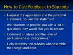 how to give feedback to students
