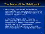 the reader writer relationship
