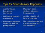 tips for short answer reponses