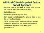 additional critically important factors bucket approach