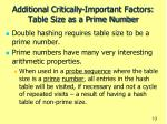 additional critically important factors table size as a prime number