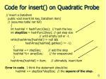 code for insert on quadratic probe