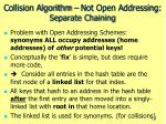 collision algorithm not open addressing separate chaining