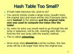 hash table too small