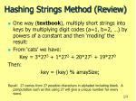 hashing strings method review