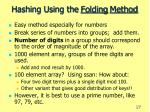 hashing using the folding method