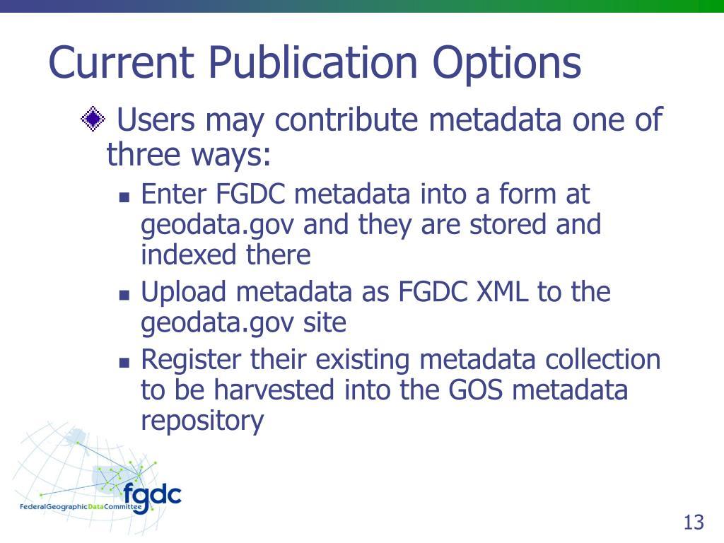 Current Publication Options