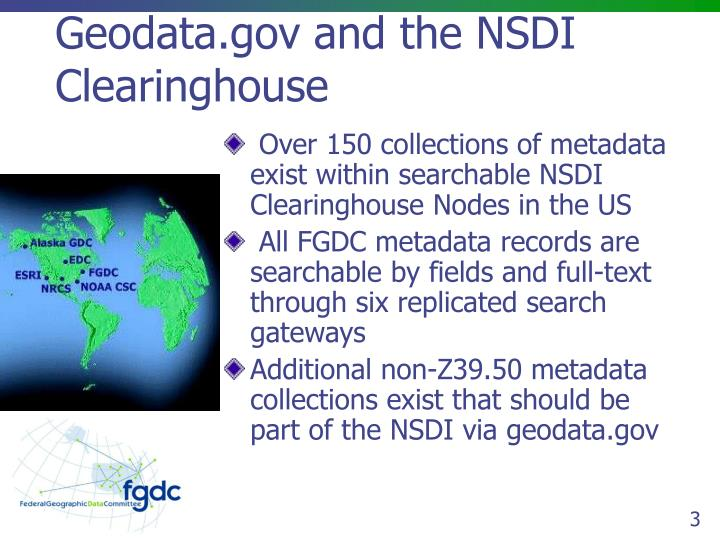 Geodata gov and the nsdi clearinghouse
