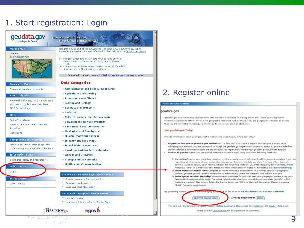 1. Start registration: Login