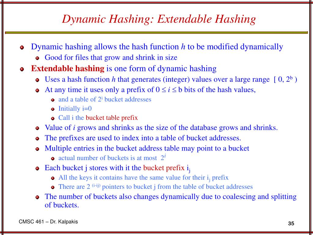 Dynamic Hashing: Extendable Hashing