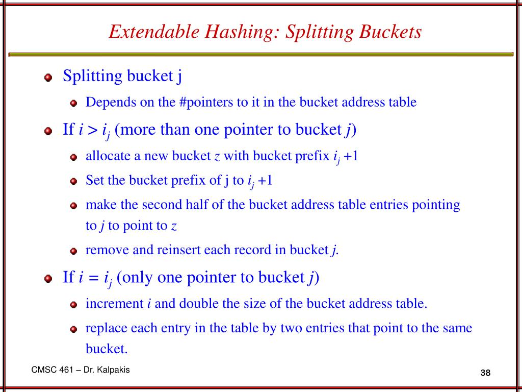 Extendable Hashing: Splitting Buckets