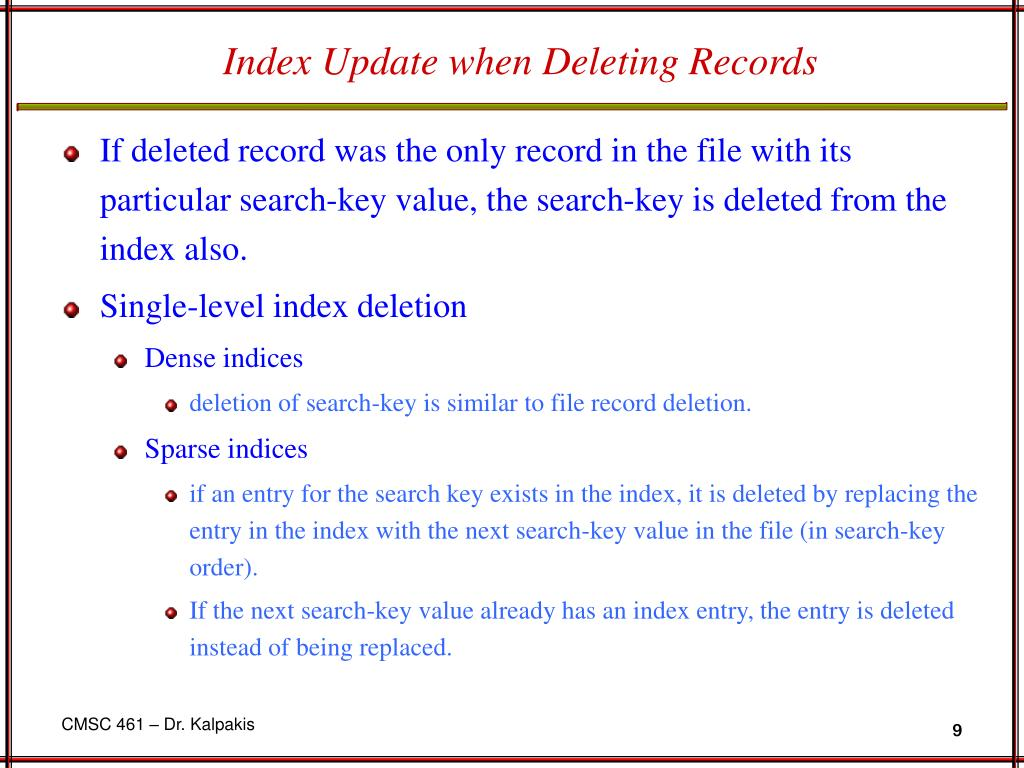 Index Update when Deleting Records