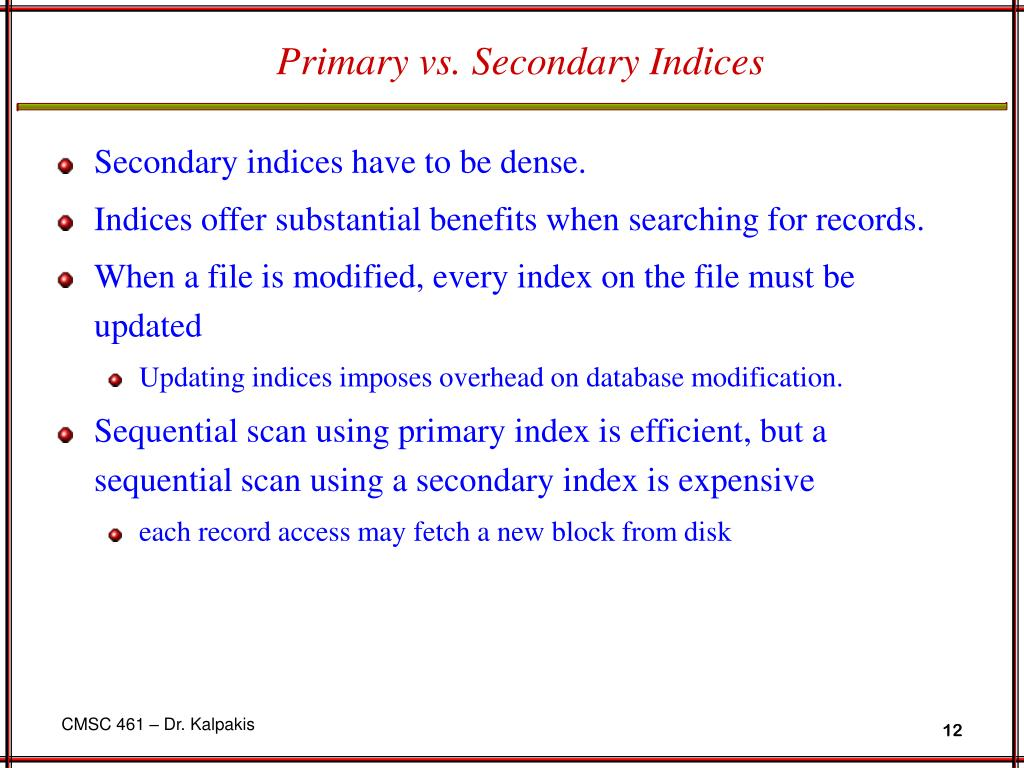 Primary vs. Secondary Indices