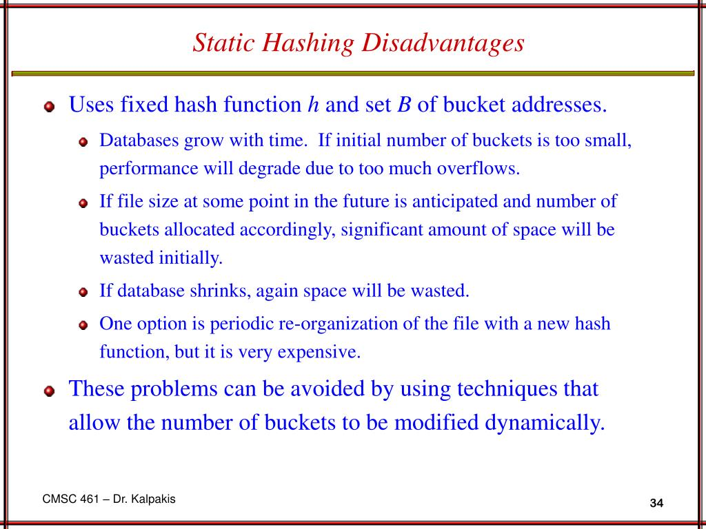 Static Hashing Disadvantages