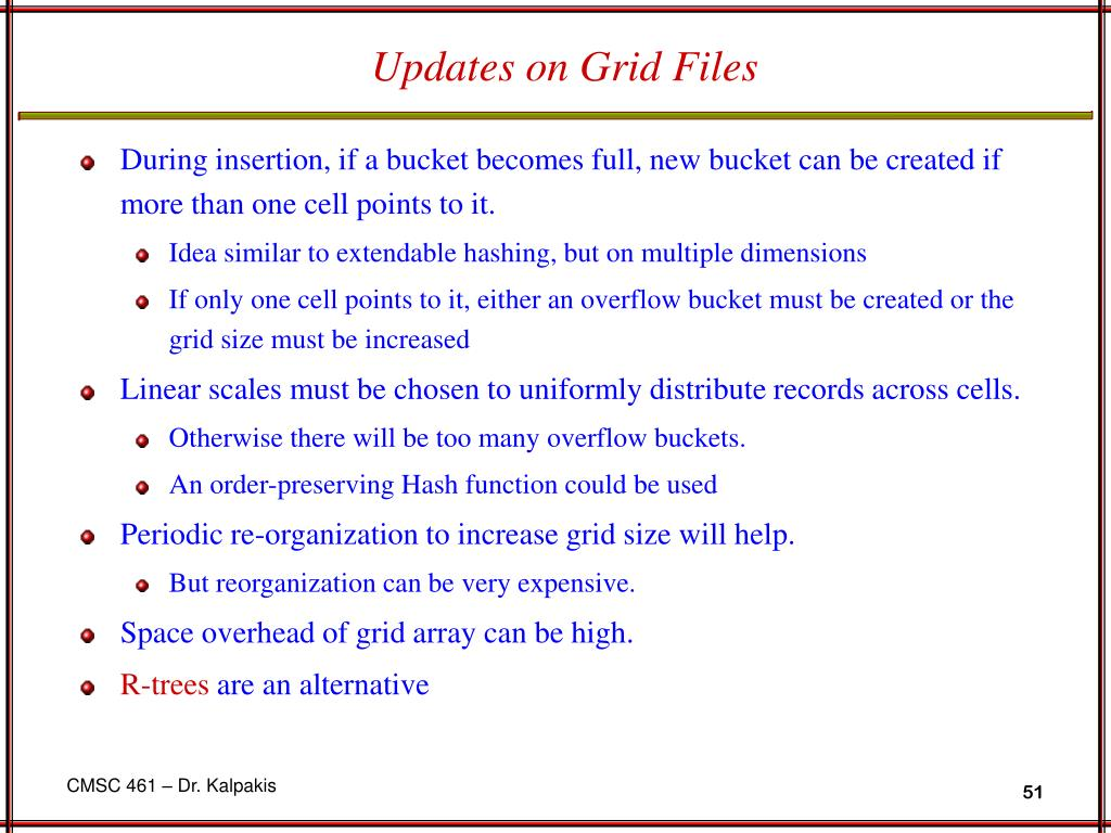 Updates on Grid Files