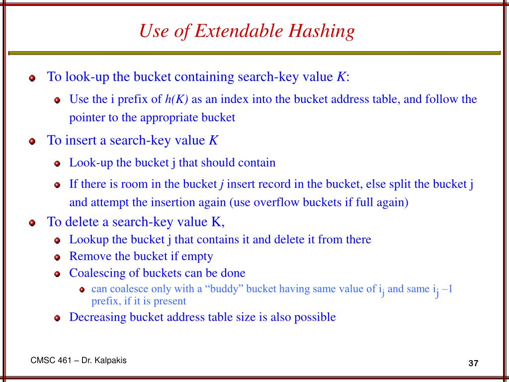 Use of Extendable Hashing