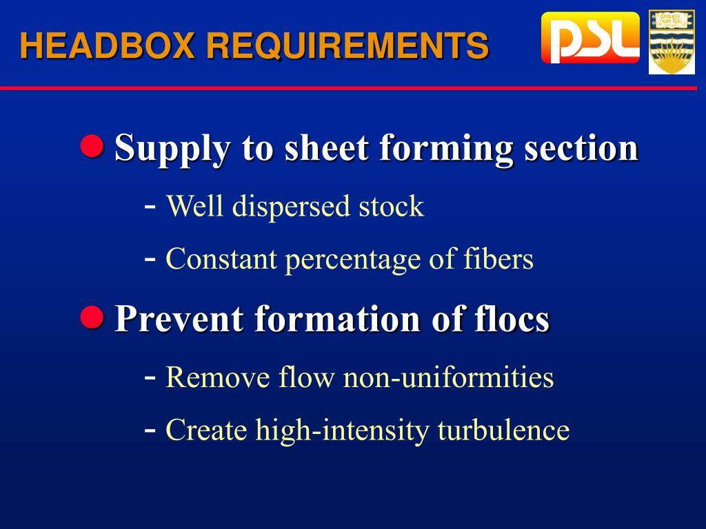 HEADBOX REQUIREMENTS