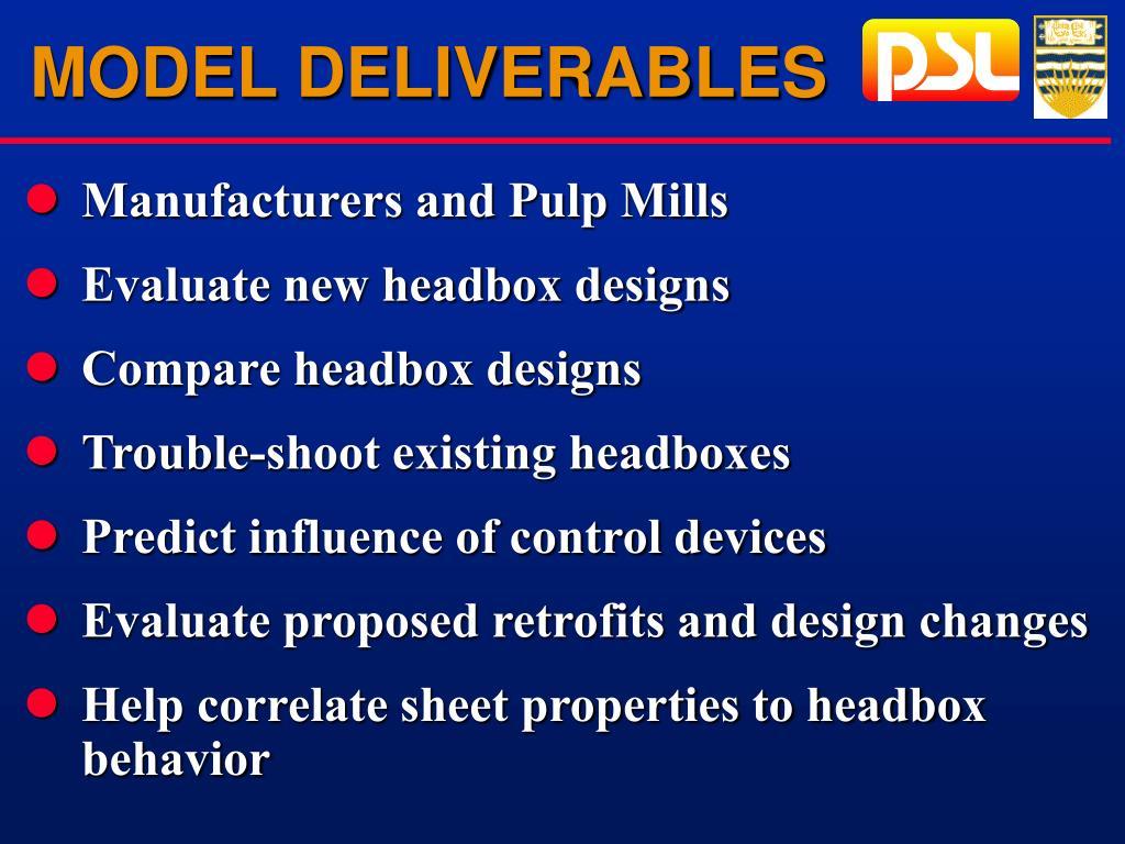 MODEL DELIVERABLES