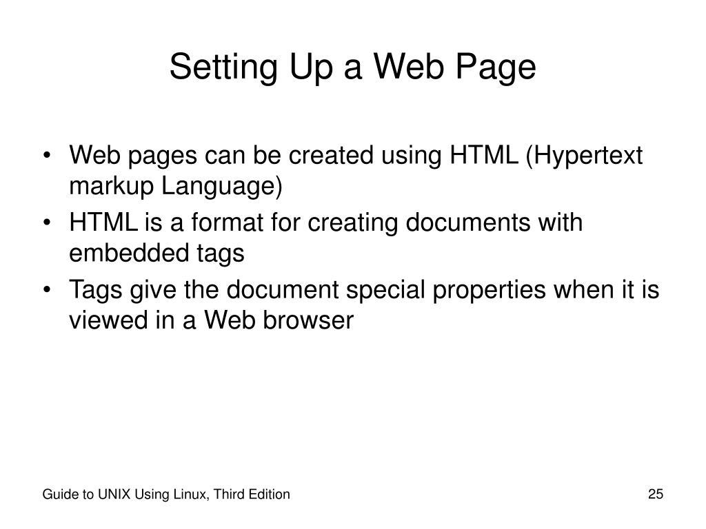 Setting Up a Web Page