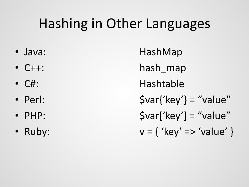 Hashing in Other Languages