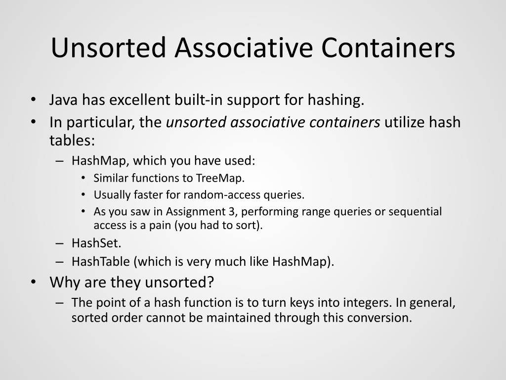 Unsorted Associative Containers