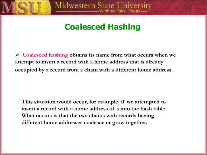 Coalesced Hashing