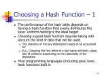 choosing a hash function 1
