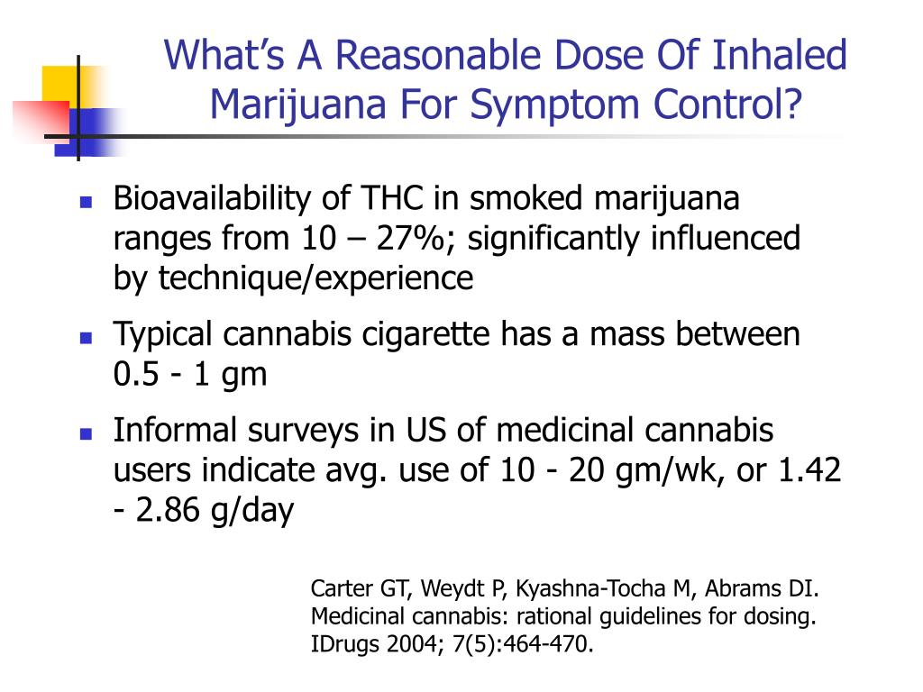 What's A Reasonable Dose Of Inhaled Marijuana For Symptom Control?